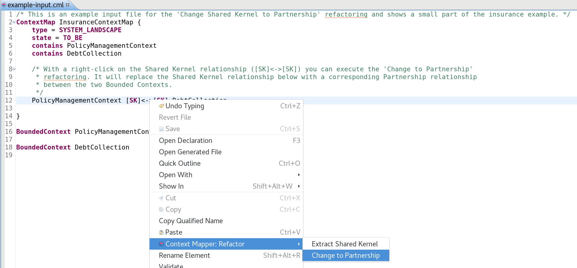 Change Shared Kernel to Partnership Example Input