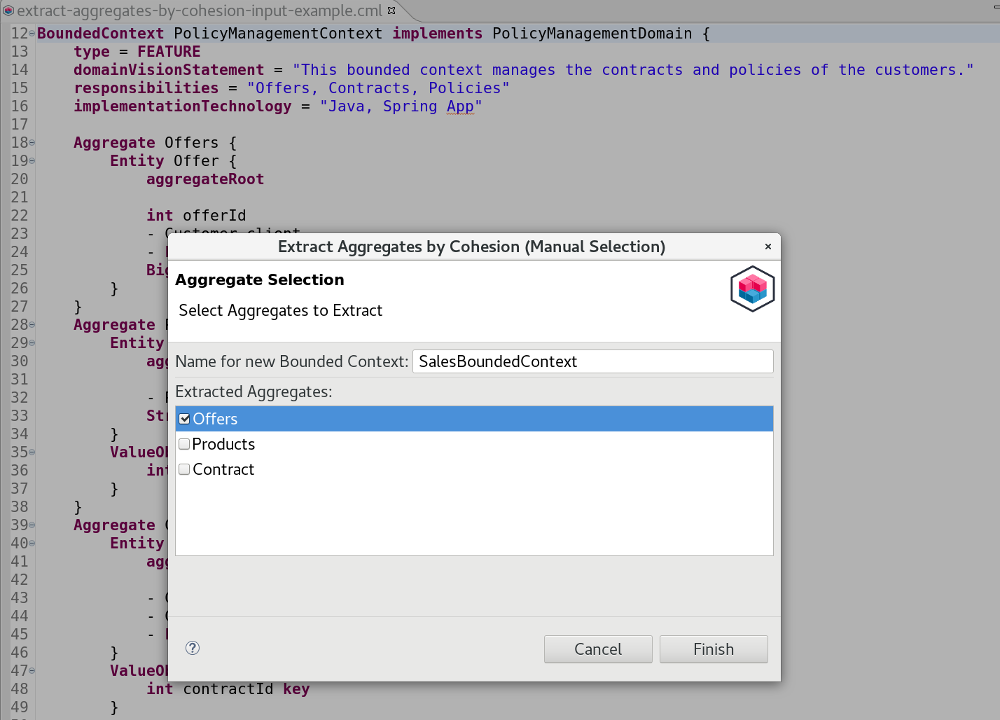 Extract Aggregates by Cohesion Example Dialog