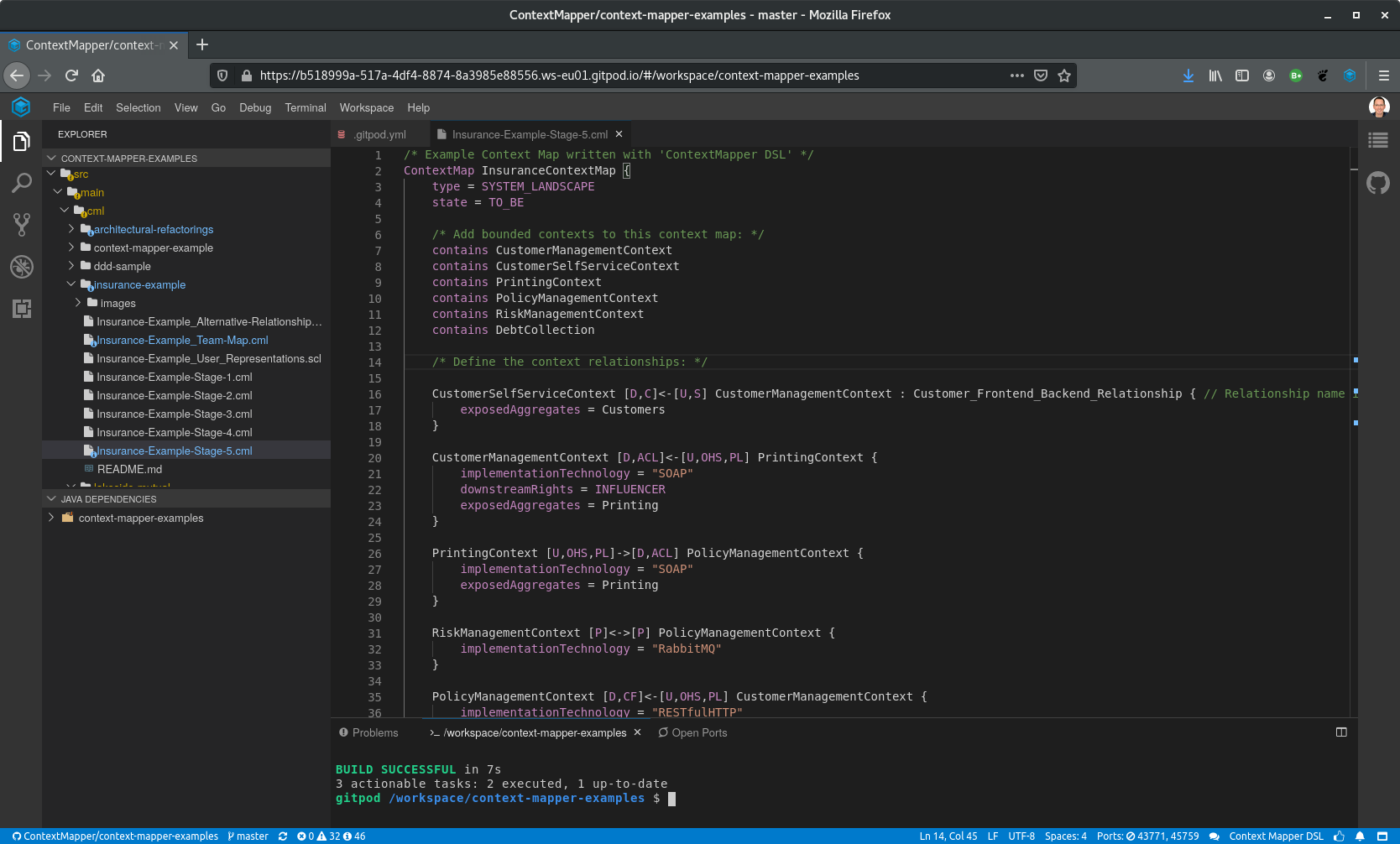 Screenshot of Browser IDE (Gitpod)