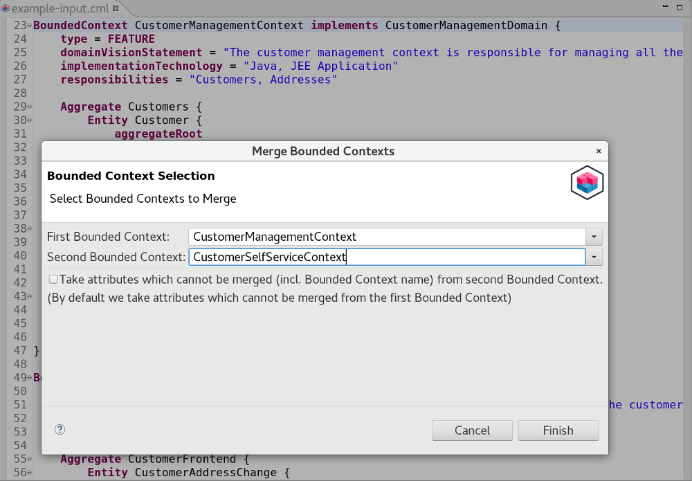 Merge Bounded Contexts Example Dialog